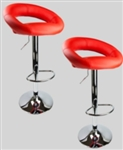 2 Red Swivel Leather Seat Modern Adjustable Hydraulic Bar Stools