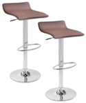 2 Mocha Brown Swivel Seat Modern Bombo Chair Bar Stools
