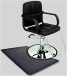 Black Leather Modern Hydraulic Barber Chair With Anti Fatigue Comfort Floor Mat