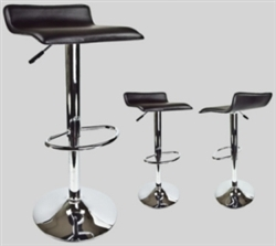 2 Black Swivel Leather Seat Modern Chrome Chair Bar Stools