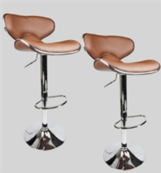 2 Swivel Mocha  Leather Modern Adjustable Hydraulic Bar Stools
