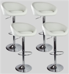 4 Barstools Swivel Seat White Leather Modern Hydraulic Adjustable