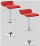 2 Red Swivel Seat Modern Bombo Chair Bar Stool