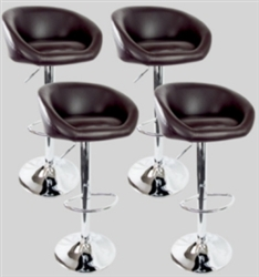 4 Swivel Seat Brown PU Leather Modern Adjustable Hydraulic Bar Stools