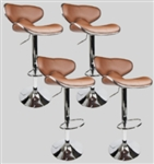4 Swivel Mocha Elegant PU Leather Modern Adjustable Hydraulic Bar Stools