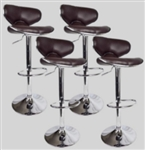 4 Swivel Brown Elegant PU Leather Modern Adjustable Hydraulic Bar Stools