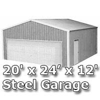 20 39 x 24 39 x 12 39 steel metal enclosed building garage for 20x24 garage kit