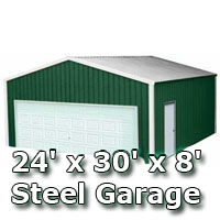 24 39 X 30 39 X 8 39 Steel Metal Enclosed Building Garage
