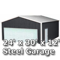 24 39 x 30 39 x 12 39 steel metal enclosed building garage for 24x30 garage cost