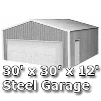 30 39 x 30 39 x 12 39 steel metal enclosed building garage for 30x30 pole building