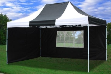 10u0027 x 15u0027 Easy Pop Up Black u0026 White Party Tent & x 15u0027 Easy Pop Up Black u0026 White Party Tent