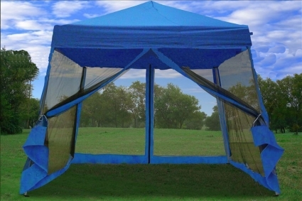 8u0027 x 8u0027 Easy Pop Up Blue Canopy Tent with Net & x 8u0027 Easy Pop Up Blue Canopy Tent with Net