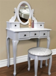 Brand New White Solid Wood Vanity Table Jewelry Makeup Desk Bench Drawer