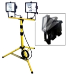 1000W Twin Halogen Shop Work Light With Telescoping Stand Tripod Base