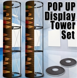 High Quality High Quality 360 View Circle 2 Tower Display Banner Stand