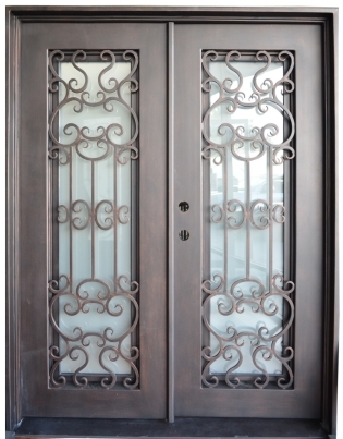 615 X 81 Oper Able Tempered Dual Pan Glasses Wrought Iron Entry Doors
