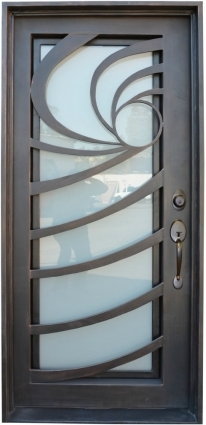 In x 81 in single wrought iron entry door wave tempered frosted single wrought iron entry door wave tempered frosted glass planetlyrics Choice Image