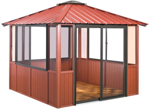 10 x 10 red gazebo enclosed w 3 sliding windows sliding for 10x10 door