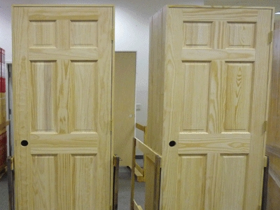 Set of 8 unfinished solid wood pre hung clear pine for Unfinished wood doors interior