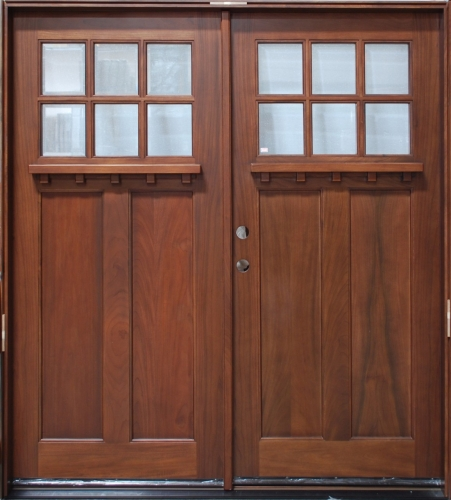 Solid wood cherry 36 39 39 exterior double door unit for Solid wood front doors