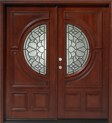 Solid wood mahogany 36 39 39 half circle exterior double door unit for Double wood front doors