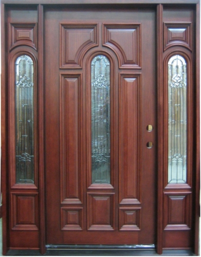 Solid wood mahogany center arch with sidelights exterior for Solid hardwood front doors