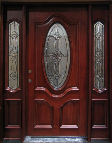 Solid Wood Mahogany Oval Victorian Glass With Sidelights