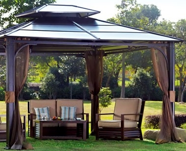 10 X 12 Hardtop Gazebo With Mosquito Netting