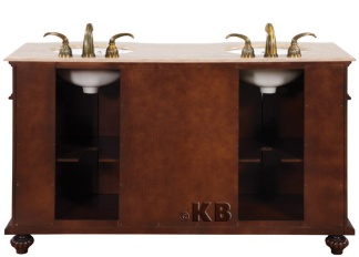 High Quality 60 Bathroom Vanity With Travertine Top Double Sink
