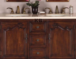 High Quality 52 Bathroom Vanity With Marble Top Double Sink
