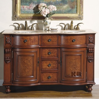 high quality 55 cherry bathroom vanity with travertine top double sink. Black Bedroom Furniture Sets. Home Design Ideas