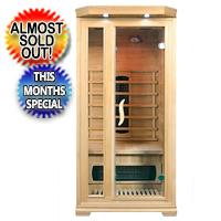 1 - 2 Person Far Infrared Hemlock Red Cedar Sauna Cabin w/Ceramic Heaters