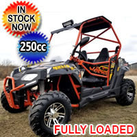 250cc Avenger Gas Golf Cart UTV Utility Vehicle w/ Windshield Oversized Tires & Custom Rims/Suspension - UV-29-250 - Orange