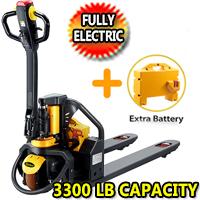 "Full Electric Pallet Jack 3300Lbs Capacity 48"" x 27"" Fork & Extra Battery - CBD15W-Li"