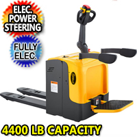 "Full Electric Standing-on Riding Pallet Truck - 4400lbs Capacity 48"" x27"" Fork - CBD20R-II+EPS"