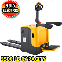"Full Electric Standing-on Riding Pallet Truck - 5500lbs Capacity - 48"" x27"" Fork - CBD25R-II"
