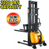 "Semi-Electric Stacker 2200Lbs Capacity With Fixed Legs - 63"" Lifting - CDD10B-III"