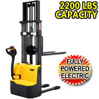 "Fully Powered Electric Stacker 2200lbs Capacity With Fixed Legs - 98""/118"" Lifting - CDD10RE"