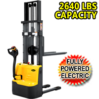 "Fully Powered Electric Stacker 2640lbs Capacity With Fixed Legs - 98""/118"" Lifting - CDD12RE"