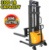 Semi-Electric Stacker with Fixed Legs 3300Lbs Capacity - CDD15B-E-3M