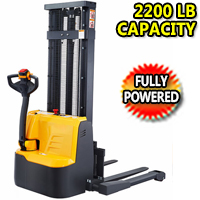 Fully Powered Straddle Stacker 2200lbs Capacity FULL FREE LIFTING - CTD10RE