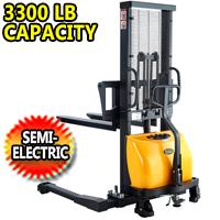 "Semi-Electric Straddle Stacker - 3300Lbs Capacity - 63""/118"" Lifting - CTD15B-III"