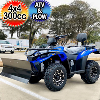 MSA 300cc 4x4 ATV With Snow Plow UTV - Utility Style Vehicle Four Wheel Drive - Blue