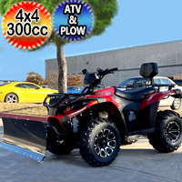 MSA 300cc 4x4 ATV With Snow Plow UTV - Utility Style Vehicle Four Wheel Drive - Red