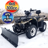 MSA 300cc 4x4 ATV With Snow Plow UTV - Utility Style Vehicle Four Wheel Drive - Tree Camo