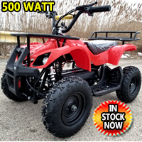 Kids Atv 500 Watt Electric Atv Kids Quad - Mud Runner - Red