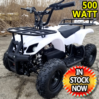Kids Atv 500 Watt Electric Atv Kids Quad - Mud Runner - White