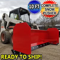 10 Foot Snow Pusher Complete - For Skid Steer Red Model GSI-Scoop10