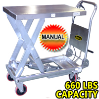 "Single Scissor Stainless Steel Lift Table - 660lbs Capacity - 35.4"" lifting height - SP500 Stainless"