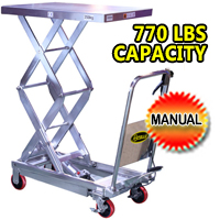 "Double Scissors Stainless Steel Lift Table - 770 lbs - 51.2"" lifting height - SPS350-STAINLESS"